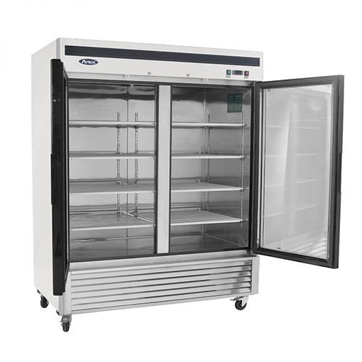 Atosa 2 Glass Door Freezer Stainless Steel W Casters 110