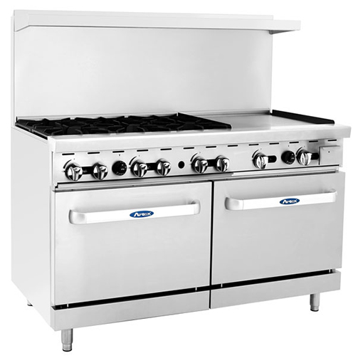 "60in. Range 6 Burners /24"" Griddle On Right 2 Ovens LP Or"