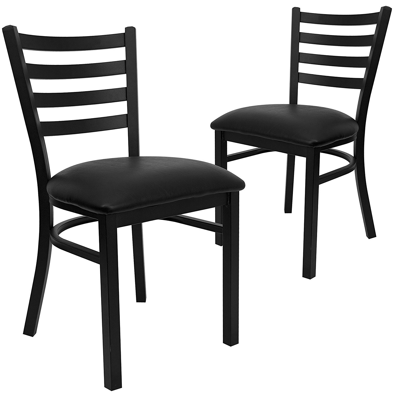 New metal ladder back restaurant chairs black vinyl seat