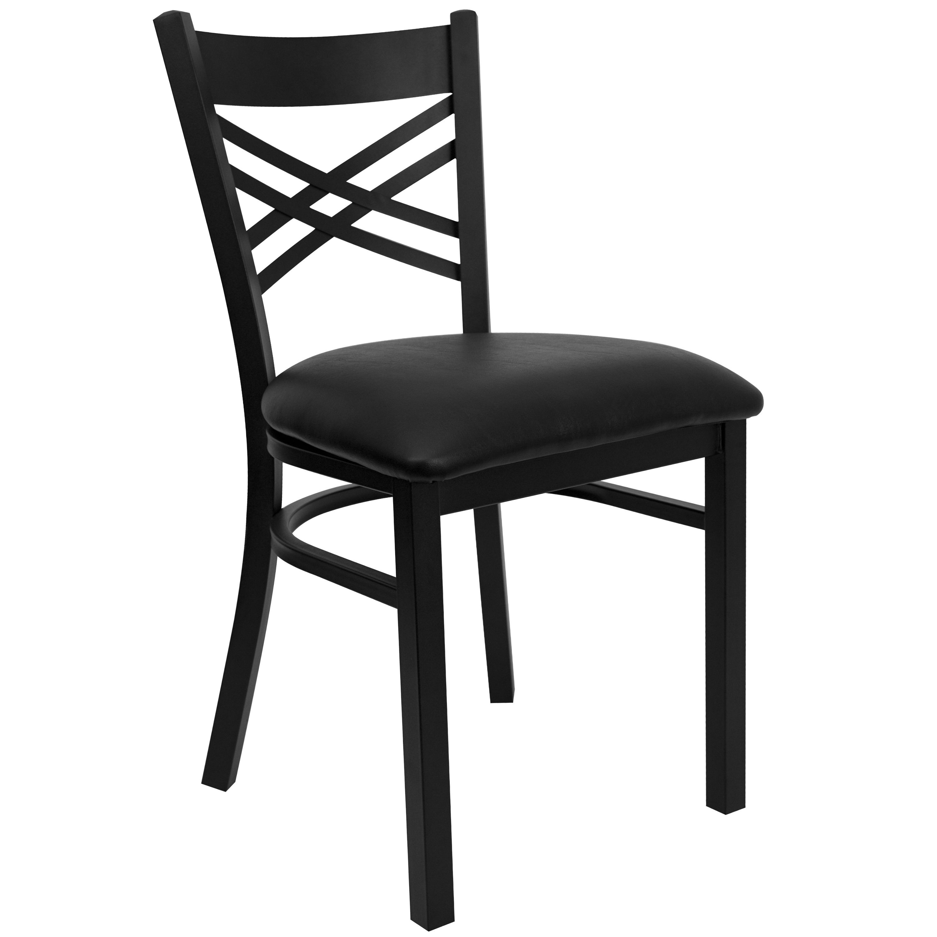 New Metal X Back Restaurant Chairs Black Vinyl Seat Lot Of 10 Free Shipping
