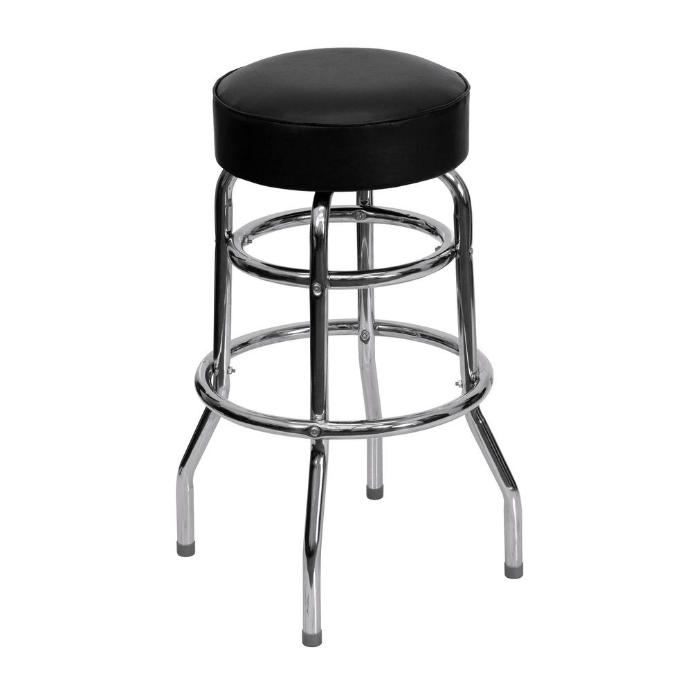 Prime New Metal Double Chrome Restaurant Bar Stools Black Vinyl Swivel Seat Lot Of 2 Free Shipping Creativecarmelina Interior Chair Design Creativecarmelinacom