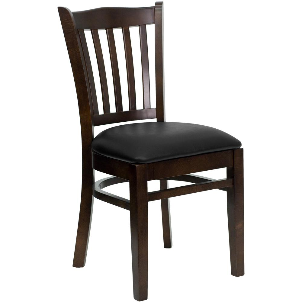 New Walnut Wood Vertical Slat Restaurant Chairs Black Vinyl Seat Lot Of 10 Free Shipping