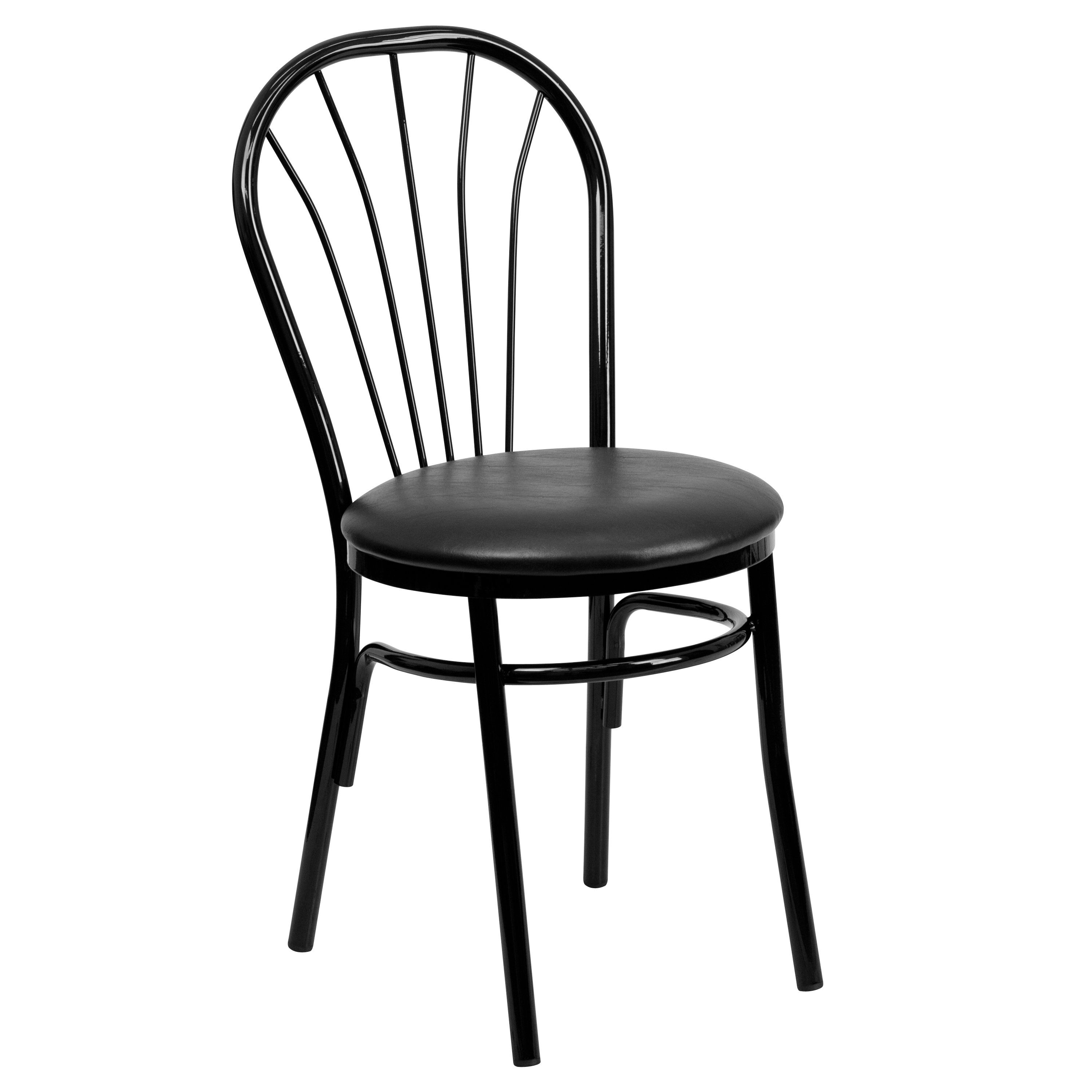 New Metal Fan Back Restaurant Chairs Black Vinyl Seat Lot Of 10 Free Shipping