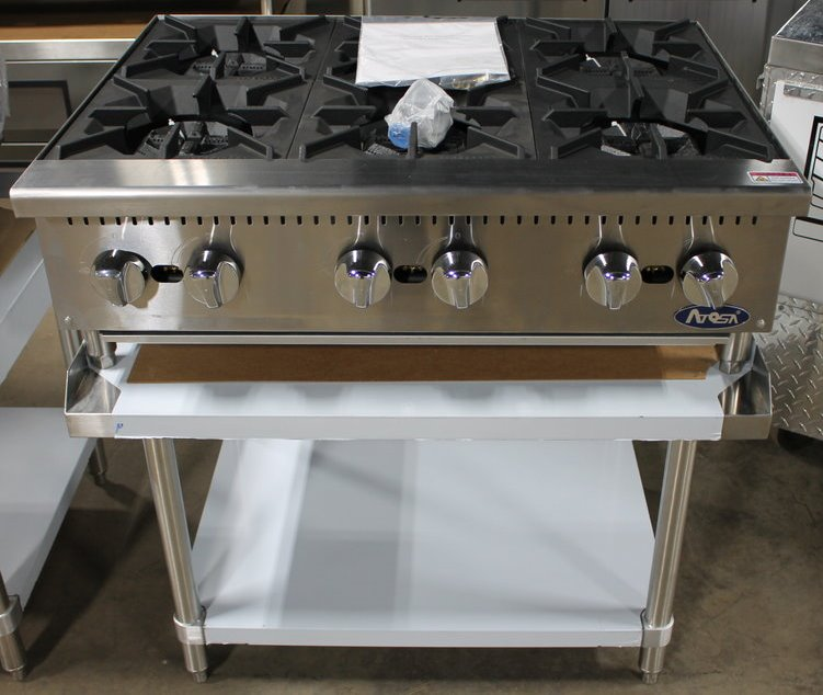Atosa 36in Six Burner Gas Hot Plate With Stainless 36