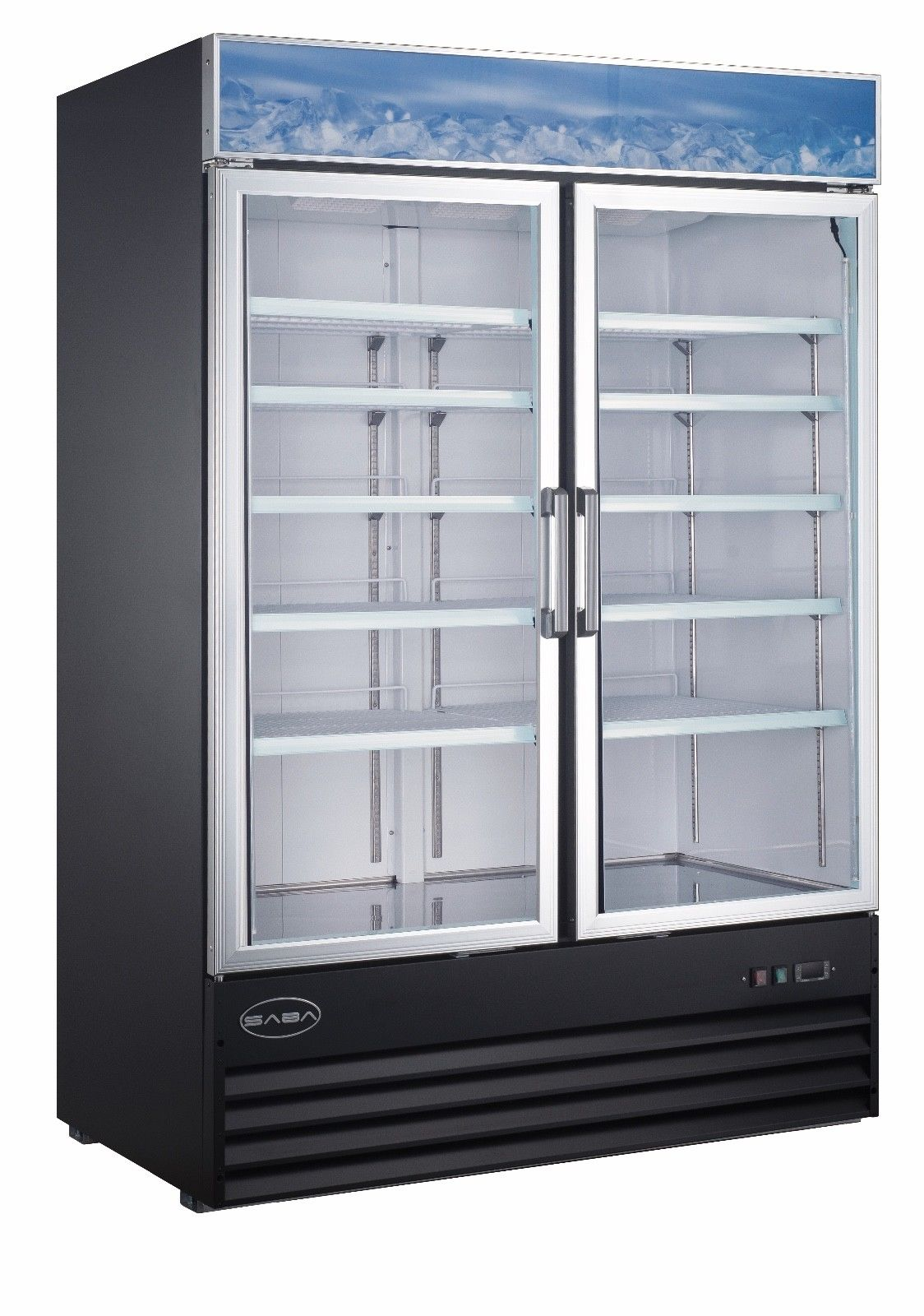 Saba 2 glass door freezer 120 volt free shipping 5 star restaurant equipment - Glass door refrigerator freezer ...
